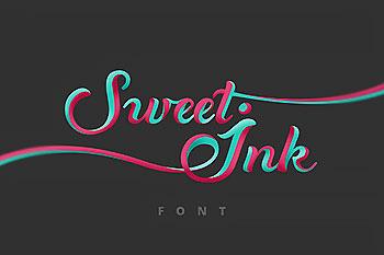 条蜜水墨手写书法时尚优雅的Sweet Ink字体