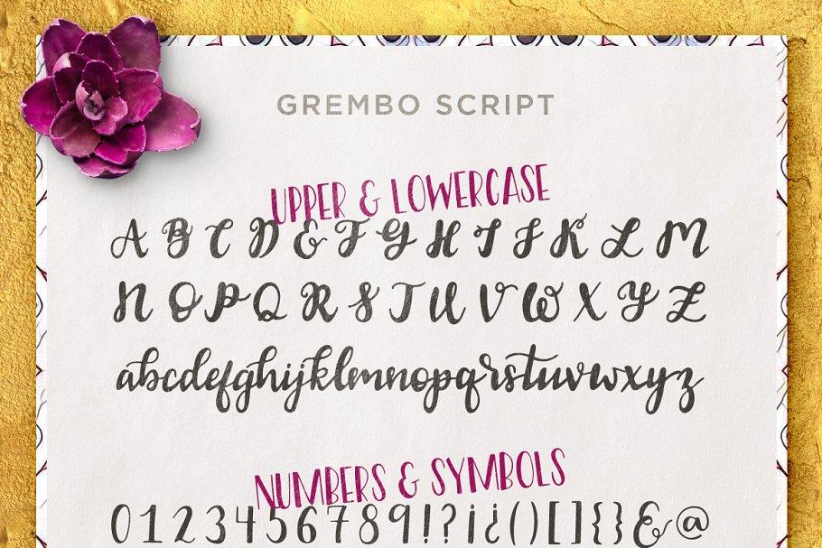 柔和漂亮的手写字体 Grembo Font Duo设计素材模板