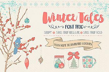 冬季味道的字体图形素材 Winter Tales - cozy font trio