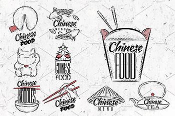 中国风美食相关LOGO手绘插画图形素材 Chinese food signs
