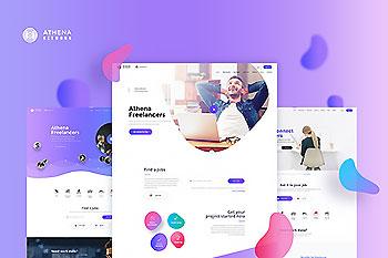 UI Kits | 时尚配色自由职业者和雇主职位搜索网络网站模板