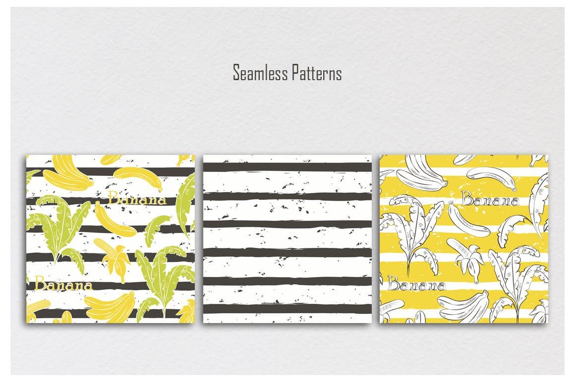 水果缤纷对比色条纹无缝模式背景底纹设计素材模板