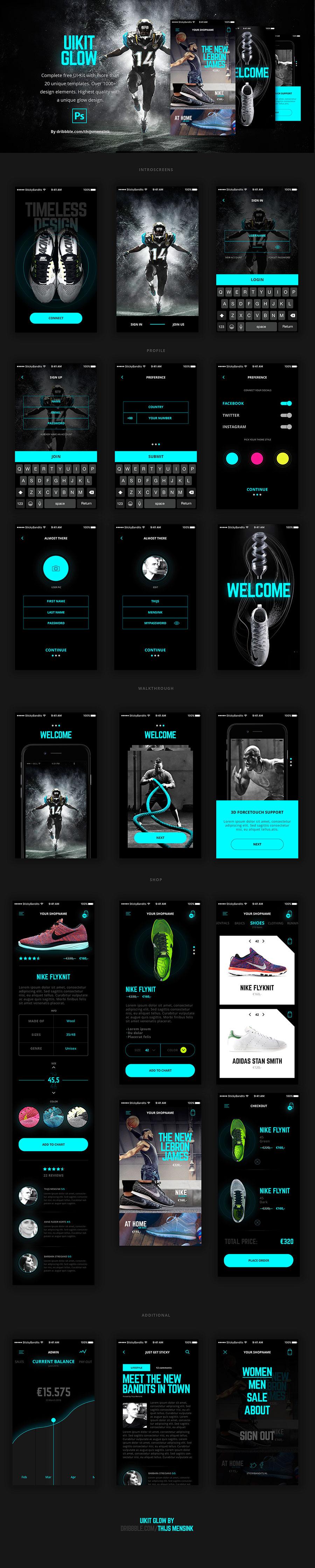 酷炫的运动相关手机APP UI KITS套装下载[PSD]设计素材模板