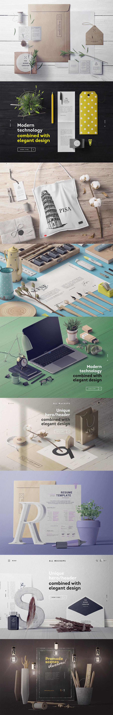 9个高端VI样机办公桌电脑文具展示模型mockups设计素材模板