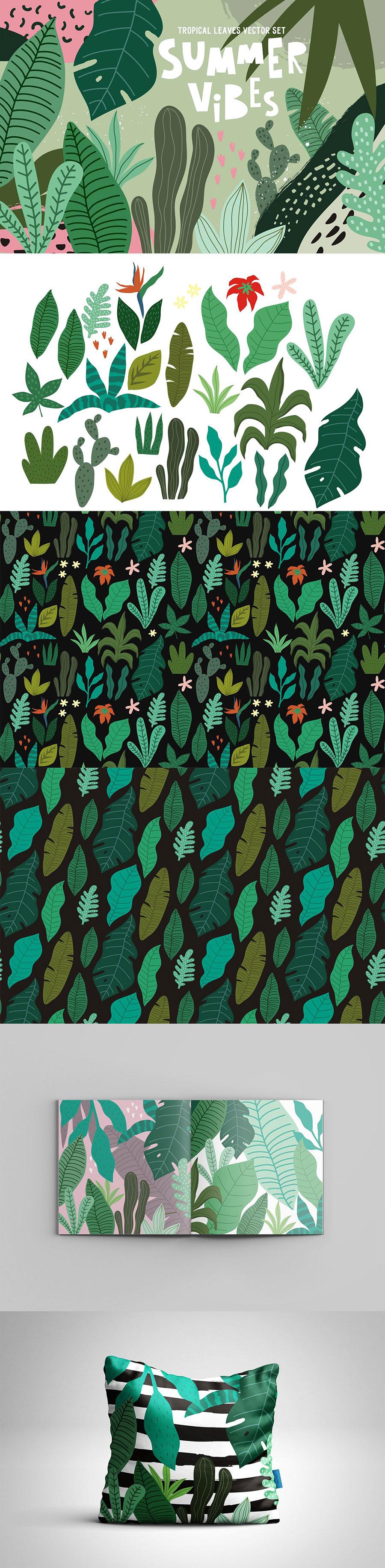 绿色热带植物树叶初夏背景纹理系列矢量素材下载[EPS]设计素材模板