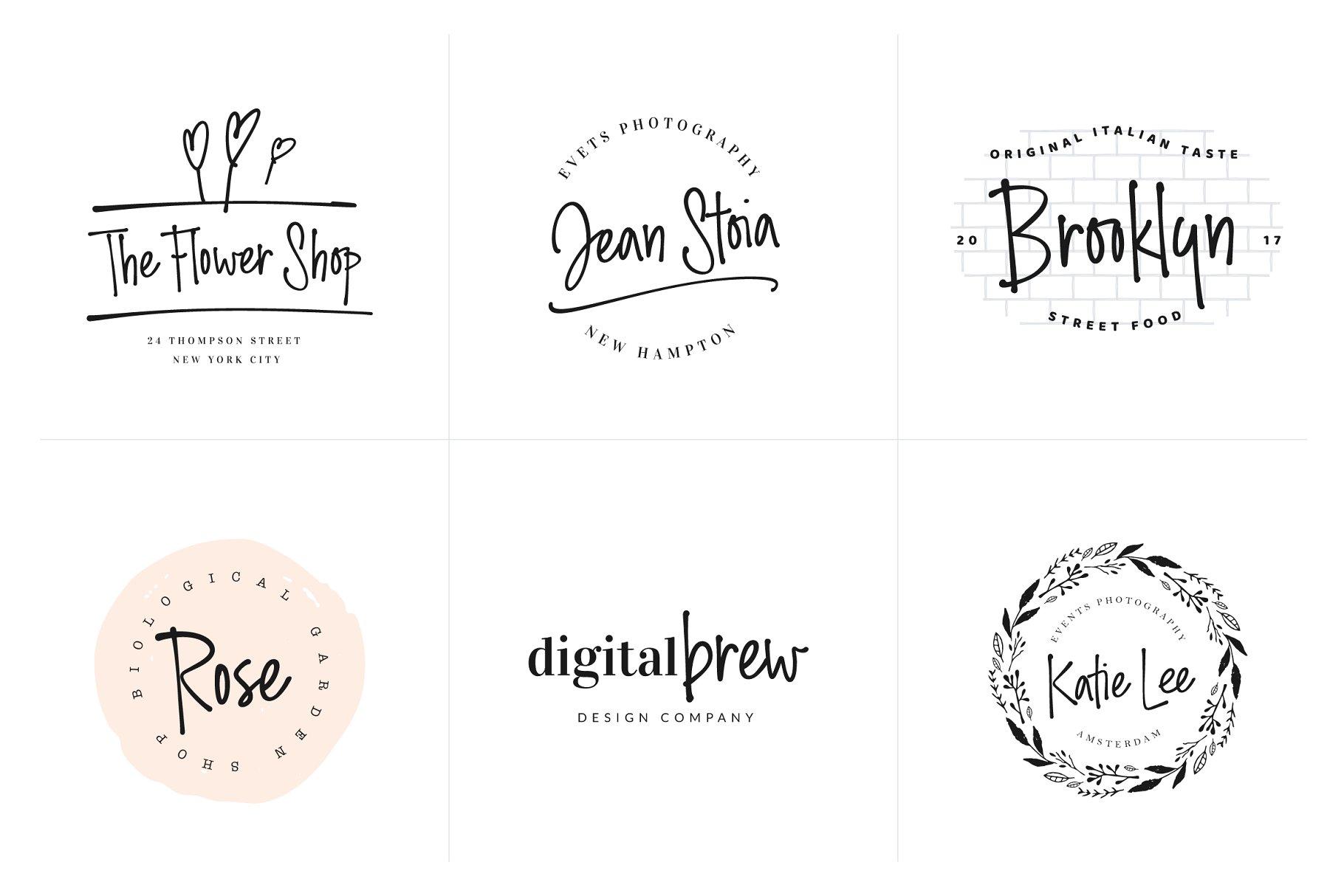 流畅的手绘字体 Ding Dong Handwritten Font + Logos设计素材模板