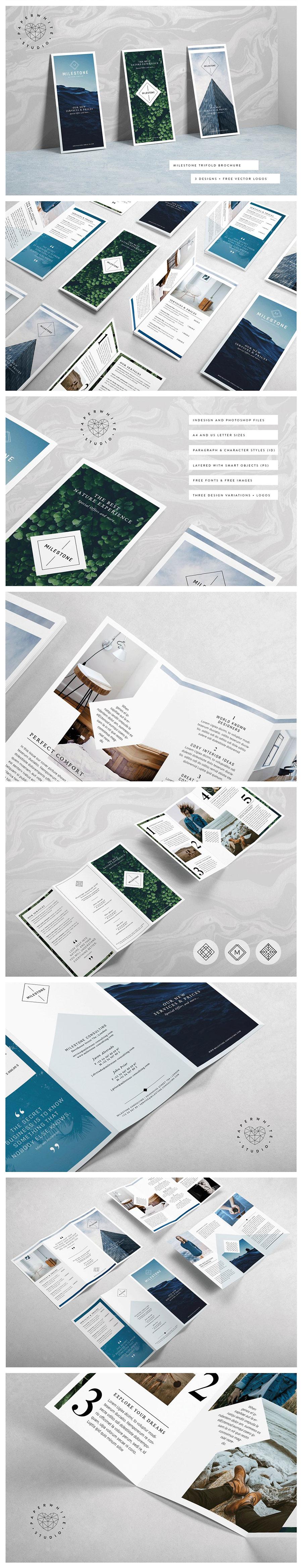 清新脱俗的折页宣传单DM模版下载[indd]设计素材模板