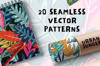 20个时尚无缝的连续花卉矢量图案背景下载[EPS]