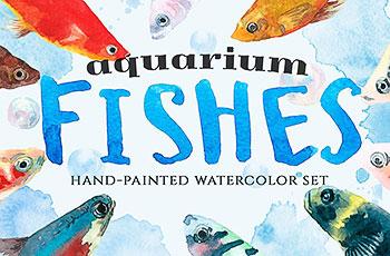 手绘鱼主题的水彩背景纹理素材下载[高清图]