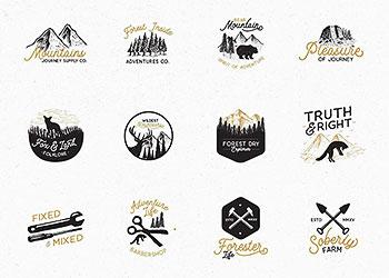 一堆野外探险风格的徽章logo设计图形素材打包下载[Ai]