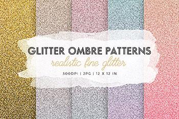 多彩的闪光奥伯尔背景纹理图片素材 Colorful Glitter Ombre Patterns
