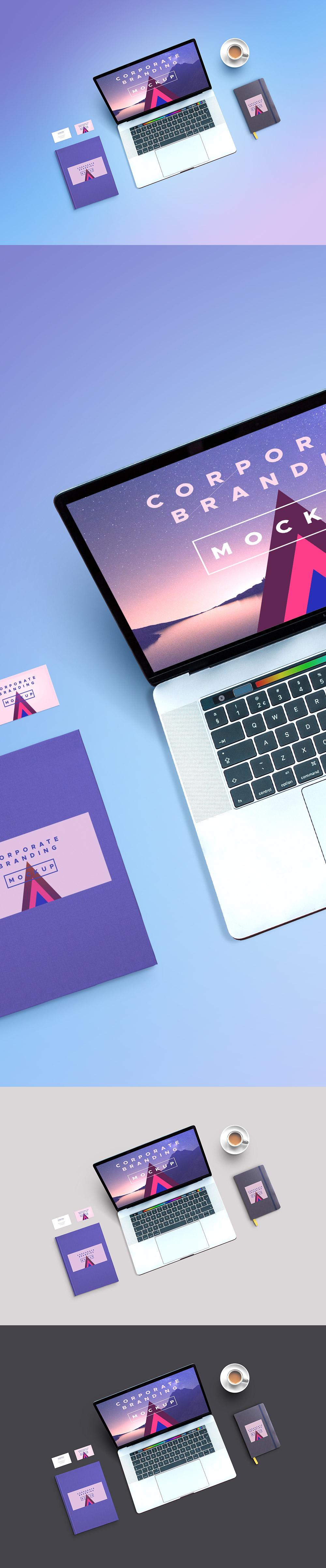 漂亮的企业VI设计笔记本展示模型样机贴图[PSD]设计素材模板