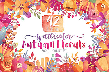 水彩秋季花卉剪贴画 Watercolor Autumn Florals Clipart