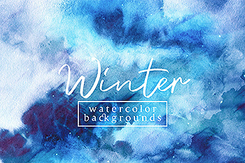 冬天水彩肌理纹理背景素材 Winter Watercolor Backgrounds
