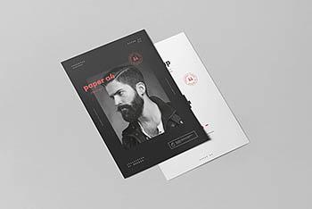 高品质的时尚A4尺寸宣传单DM海报VI样机展示模型mockups