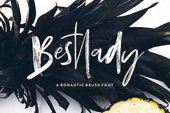 时尚高端简约中国风手绘毛笔字书法字体Bestlady Brush
