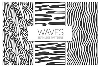 波纹图案无缝背景 Waves. Seamless Patterns Set 1