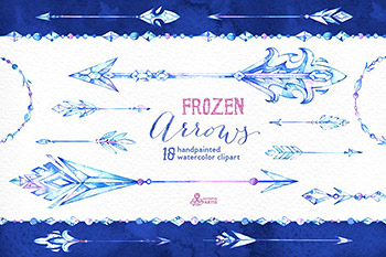 水彩绘画冰冻之箭 Frozen Arrows. Watercolor collection