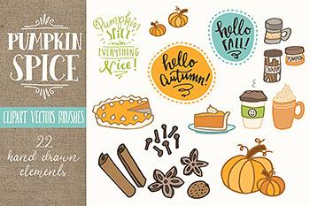 插图卡通南瓜矢量剪贴画集 Pumpkin Spice Clip Art Set – Vectors