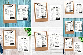 西餐厅菜单版式设计图样机模板 4 Scenarios Menu Mock Ups