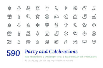 590线型圣诞节图标 590 Party and Celebrations Line Icon