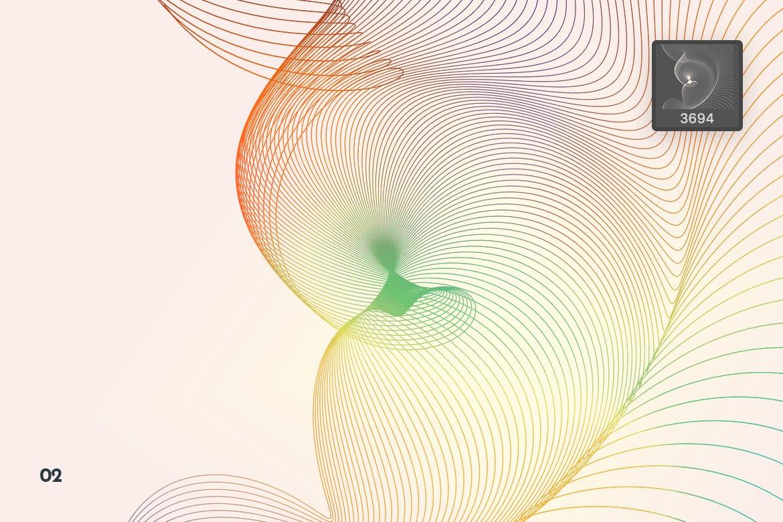 时尚动感潮流抽象高科技质感流动网络浪潮波浪Photoshop笔刷大集合设计素材模板