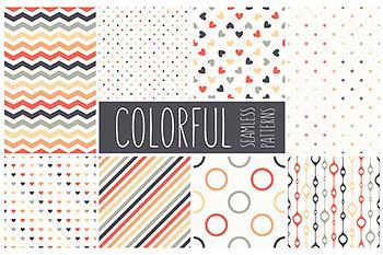 背景纹理彩色多边形无缝图案 Colorful Seamless Patterns Set