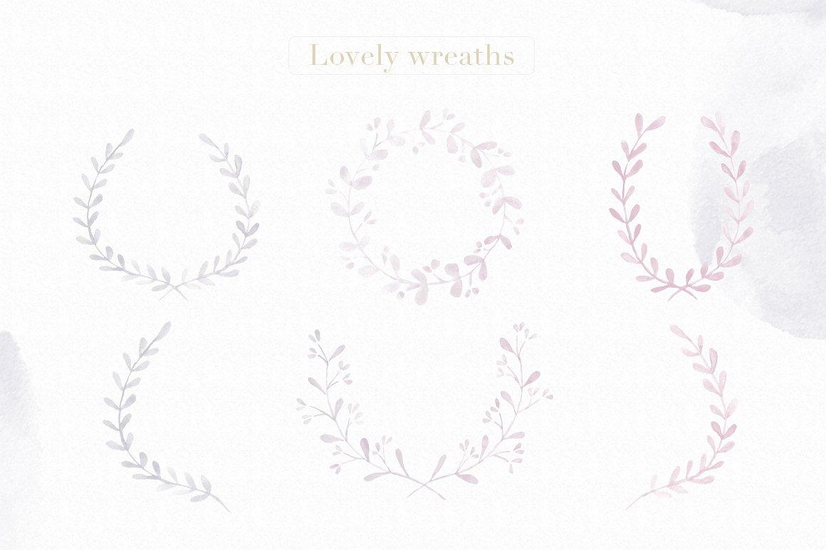 水彩花卉笔刷 Floral Watercolor Photoshop Brushes设计素材模板