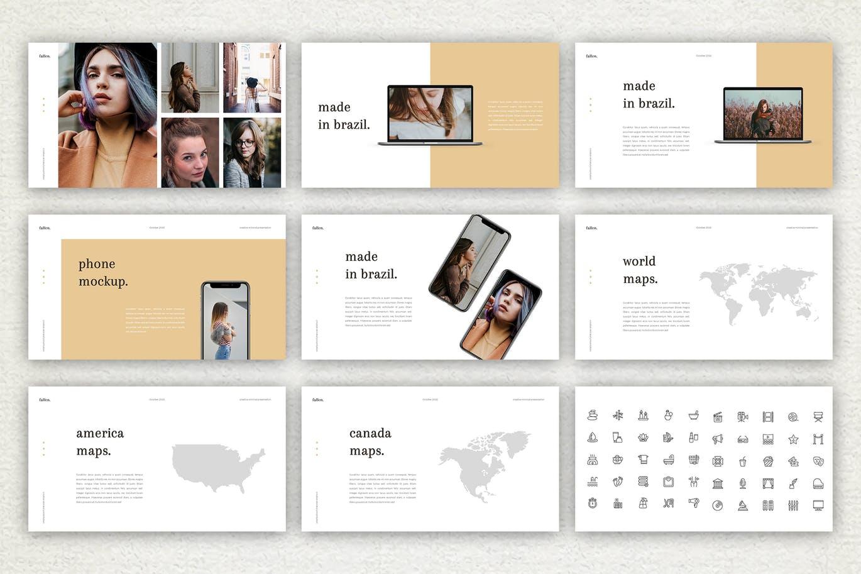 时尚高端优雅的秋天秋季金黄色配色的Google Slides幻灯片powerpoint演示模版(pptx)设计素材模板