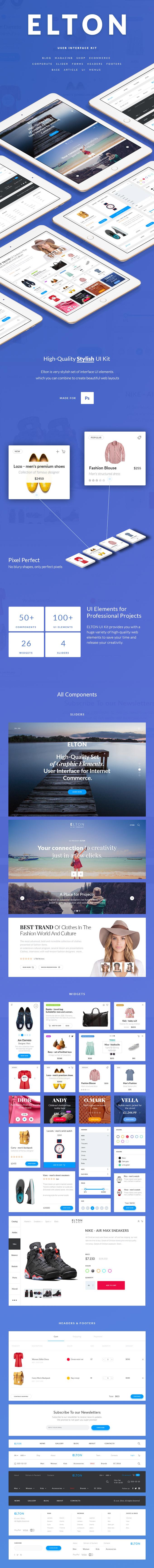 UI   现代简约时尚潮流购物网页平台设计素材模板