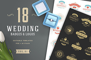 logo素材婚礼元素模板 18 Wedding Logos and Badges
