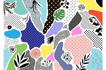 背景纹理几何拼贴混合时尚的图形纹理孟菲斯设计