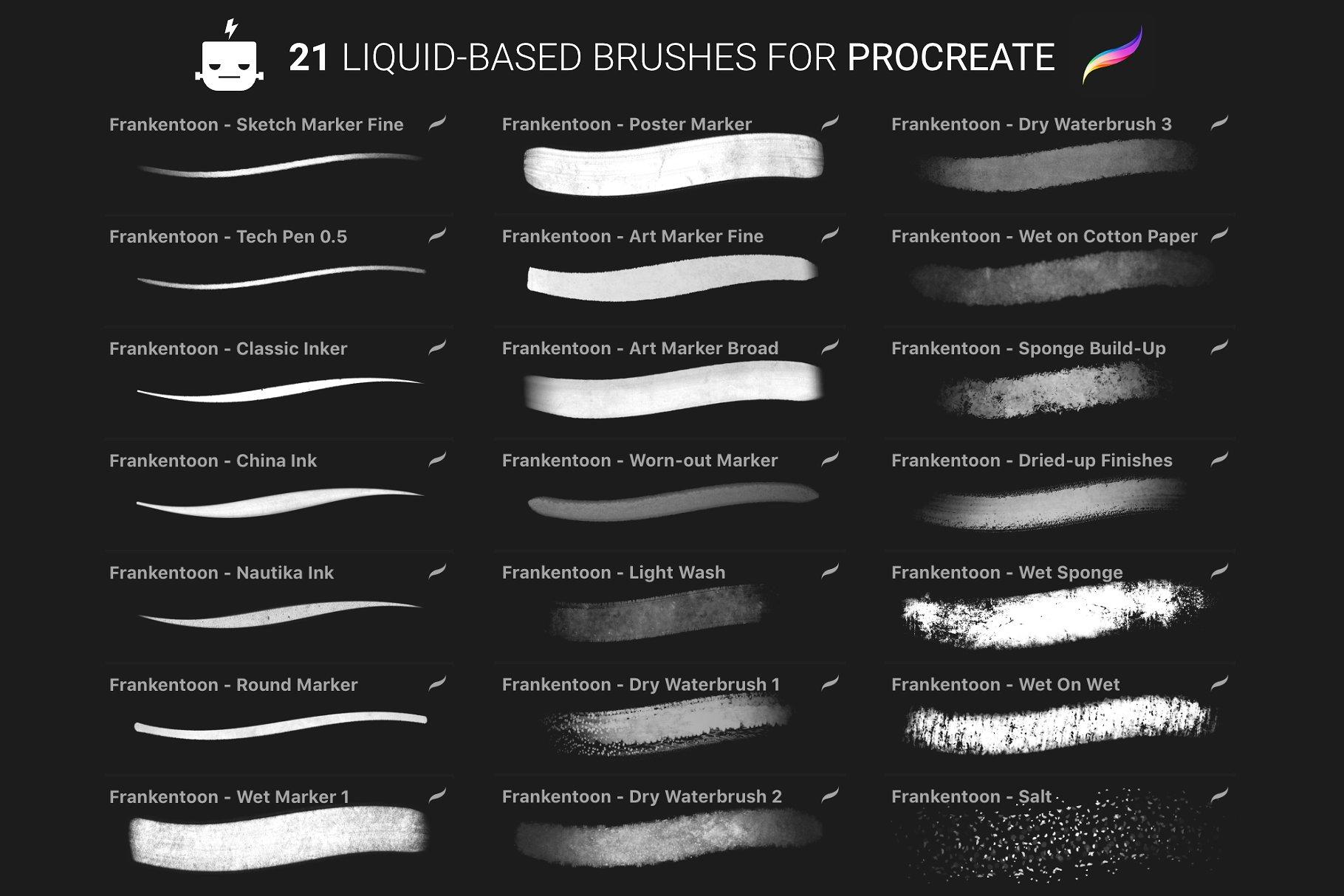数码水彩插画笔刷 Nautika – Brush Pack for Procreate设计素材模板