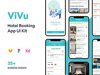 酒店预订和旅行功能的app界面设计iOS Ui KIT下载[Sketch,XD,fig]