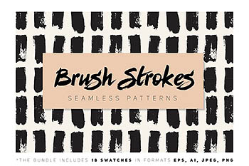 笔刷无缝图案背景纹理 Brush Strokes Seamless Collection