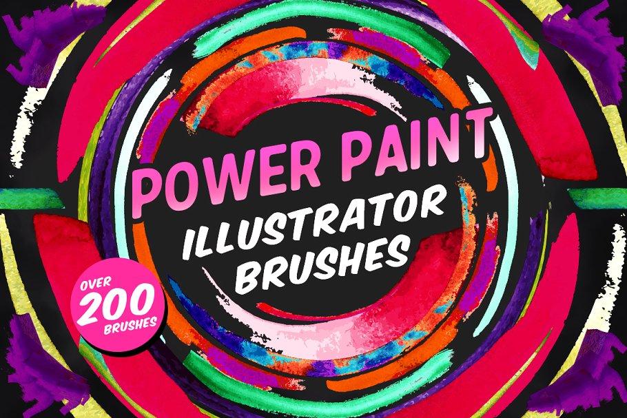 有力量感觉的 illustrator 手绘笔刷 Power Paint Illustrator Brushes设计素材模板