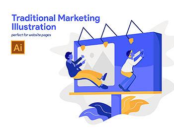 传统市场营销概念插画图下载[Ai]