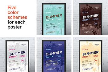 海报设计时尚高端简约多用途的高品质夏天夏季渡假旅游夏季传单模板集合#4