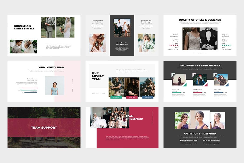 时尚高端专业的高品质婚礼策划师powerpoint幻灯片演示模板(pptx)设计素材模板