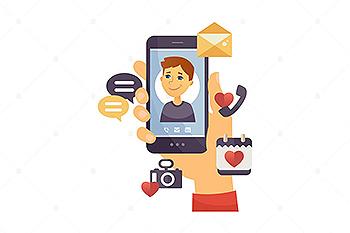 儿童电话卡通人物矢量插画素材 Son calling – cartoon character illustration