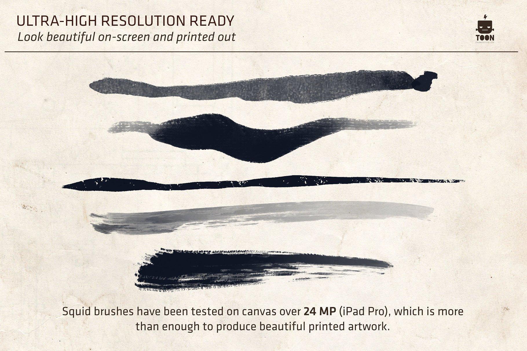Procreate笔刷素材 Squid Brush Pack for Procreate设计素材模板