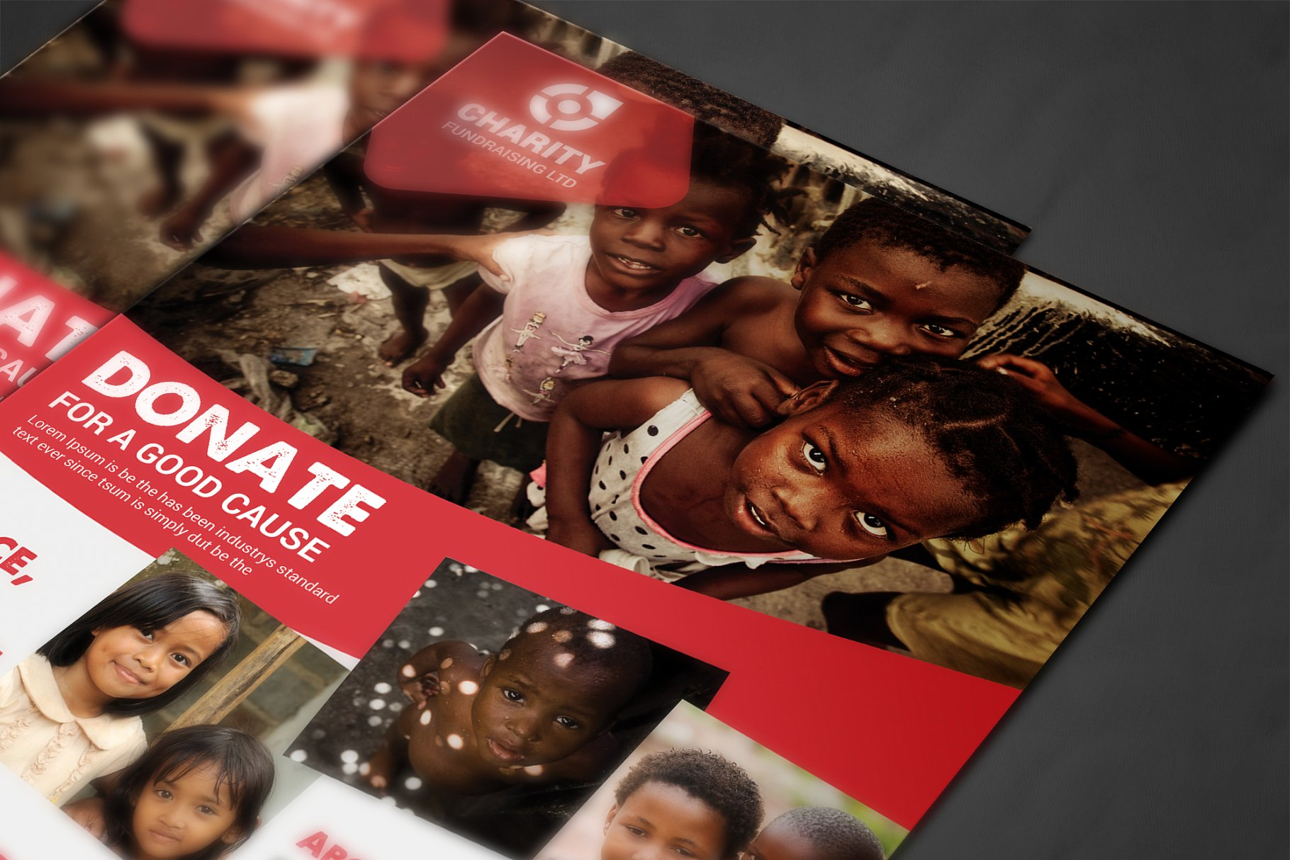 非洲公益海报模板 Charity Donation Flyer设计素材模板