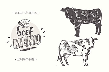 插图绘画奶牛素描 Design elements for a beef menu