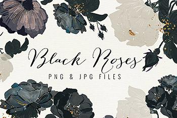 插图绘画黑色玫瑰 Black Roses