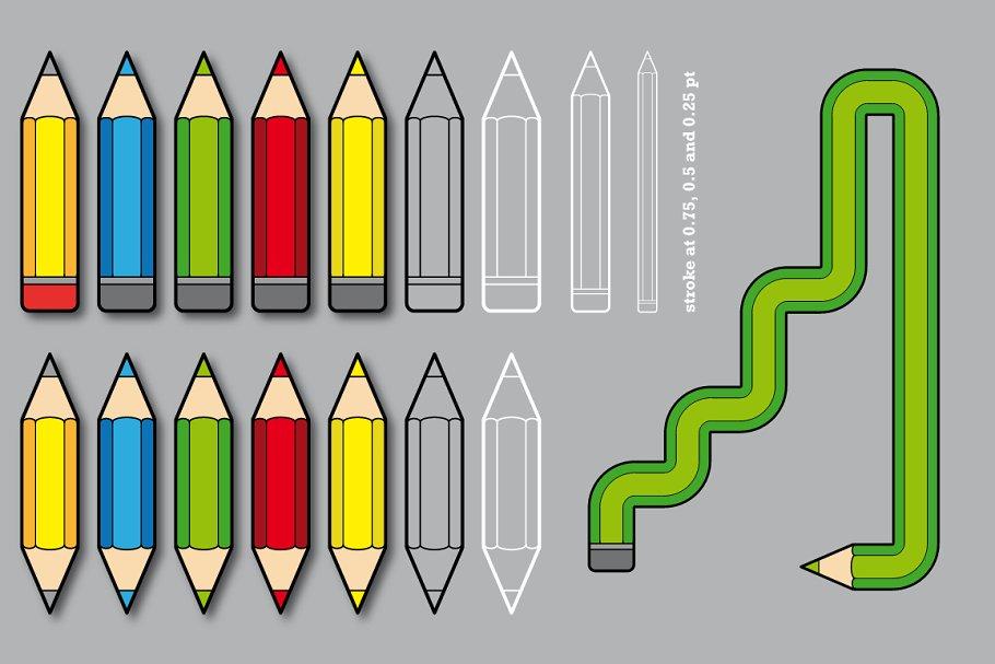 铅笔图形的笔刷 Pencil Pattern Brushes设计素材模板