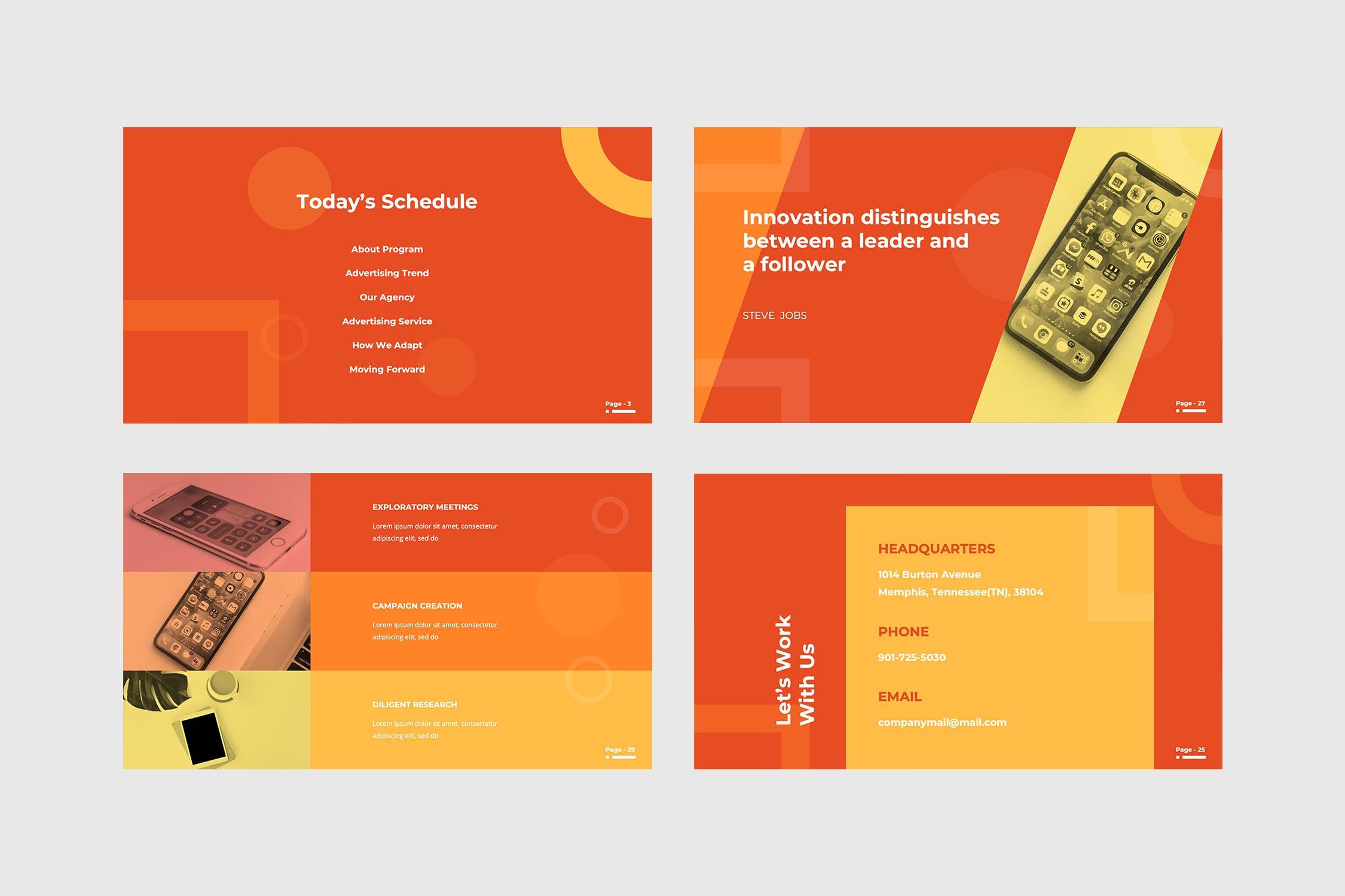 广告业务&市场营销主题业务介绍/工作报告PPT幻灯片模板 Adversite – Powerpoint Presentation设计素材模板