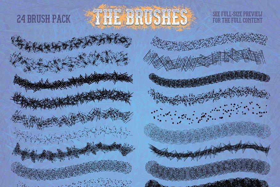 礼物肌理抓痕笔刷 Grit, Grunge & Grain Scatter Brushes设计素材模板