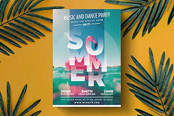 派对海报时尚高端优雅夏日夏天聚会派对party宣传单DM设计模板