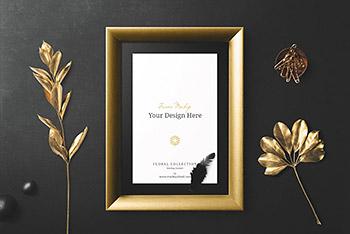 相框样机展示框样机金色花卉下载[PSD]