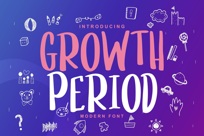 儿童主题设计英文无衬线字体 Growth Period | Kids Modern Font设计素材模板
